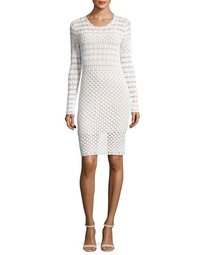 Long-Sleeve Crocheted Sweaterdress, White