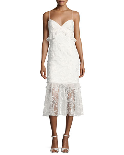 Milan Sleeveless Lace Fit-and-Flare Cocktail Dress, Ivory
