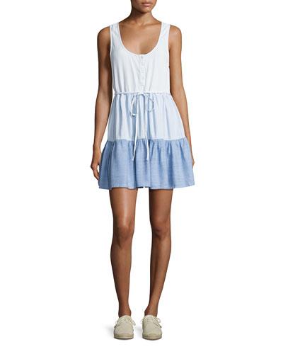 Noelle Colorblocked Denim Dress, Blue Pattern