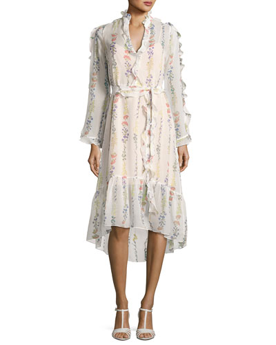 Bunty Floral-Print Midi Dress, Off White