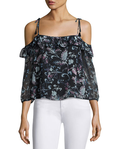 Dreamer Floral Cold-Shoulder Top, Black