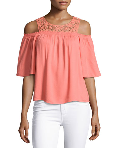 Medallion Crochet Cold-Shoulder Top, Coral