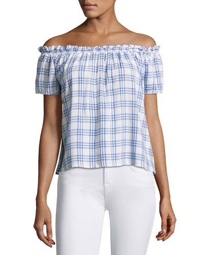 Dionne Plaid Off-the-Shoulder Top, Blue/White