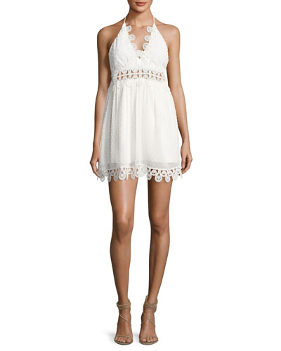 Mimi Swiss Dot Mini Dress, White