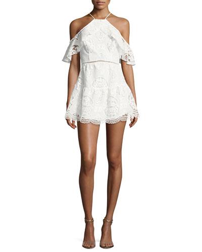 Ellie Lace Cold-Shoulder Mini Dress, White