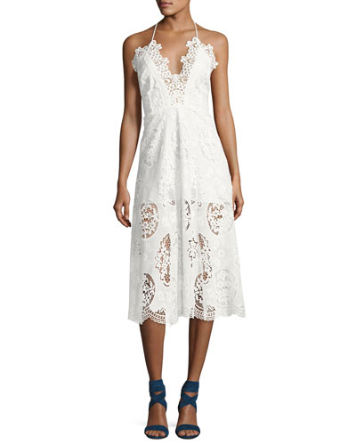 Aubrey Lace Midi Dress, White