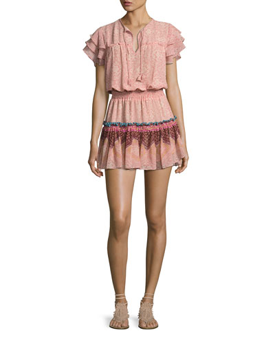Suri Multi-Printed Tiered-Skirt Mini Dress, Pink