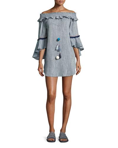 Vanessa Off-the-Shoulder Cotton Dress, Blue