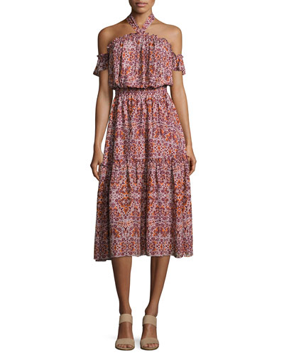 Callie Halter-Neck Multi-Printed Midi Dress