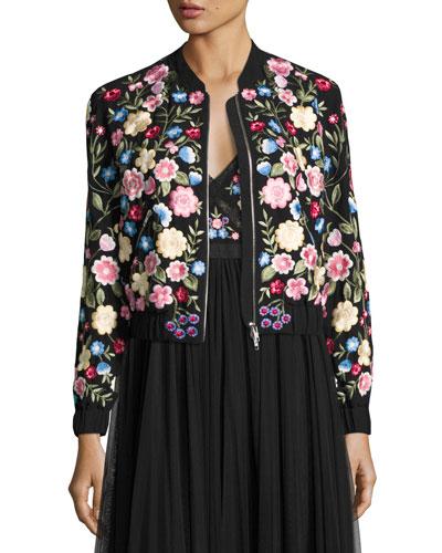 Flower Foliage Embroidered Bomber Jacket, Black