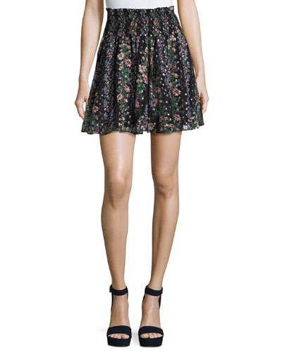 Floral Stripe Smocked-Waist Skirt, Black