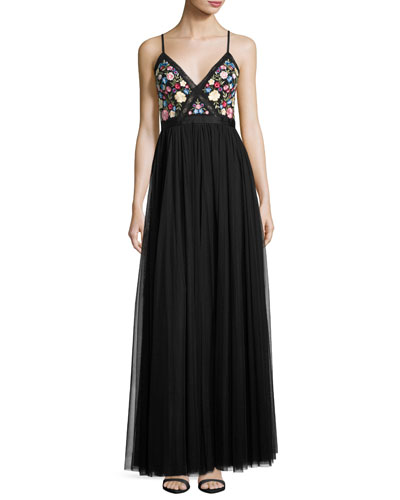 Flower Foliage Maxi Dress, Black