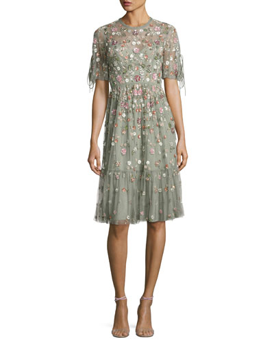 Floweret Tulle Dress, Sage