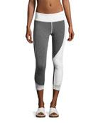 Allegiance Athletic Capri Leggings, Gray/White