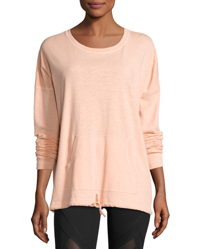 Renew Scoop-Neck Cotton Pullover, Peach
