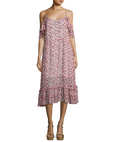 Buffy Cold-Shoulder Midi Dress, Pink