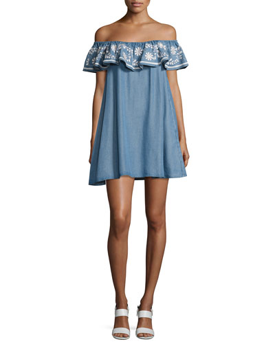 Dev Chambray Off-the-Shoulder Dress, Light Blue
