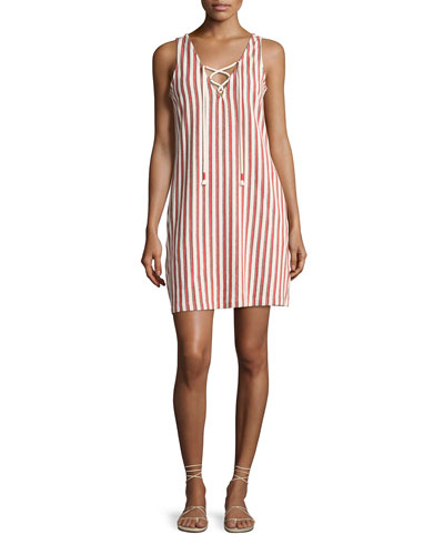 Monica Sleeveless Baja Striped Dress, Red/White