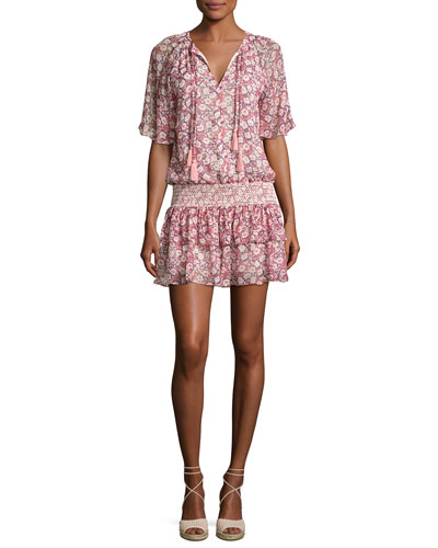 Pebble Floral-Print Drop-Waist Dress, Pink