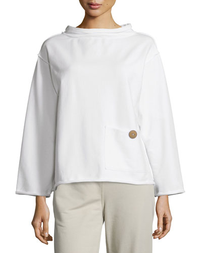 WOMENS RAW EDGE MOCKNECK TOP