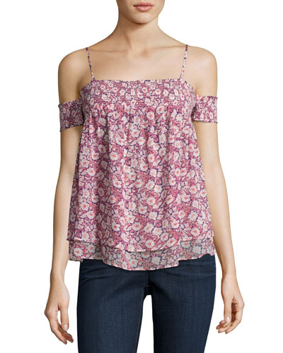 Pia Cold-Shoulder Floral Top, Multi Pattern/Pink
