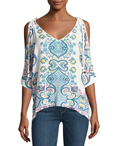 Lover Tapestry V-Neck Tunic Blouse