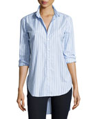Grayson Long-Sleeve Striped Italian Twill, Blue