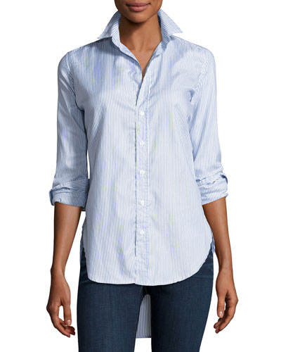 Grayson Button-Down Italian Twill Shirt, Blue