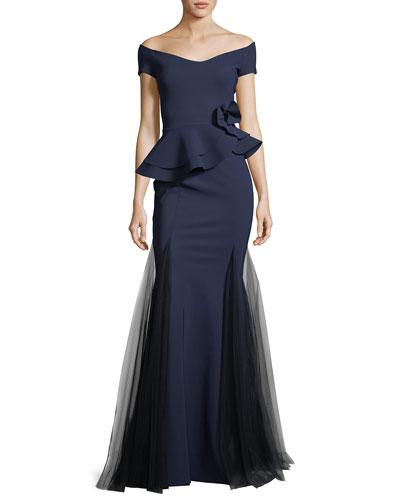 Lady Cap-Sleeve Peplum Mermaid Gown