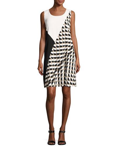 Diega Sleeveless Divided Dot-Print Tech Dress, Multi, Plus Size