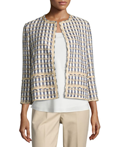 Aisha 3/4-Sleeve Tweed Jacket, Plus Size
