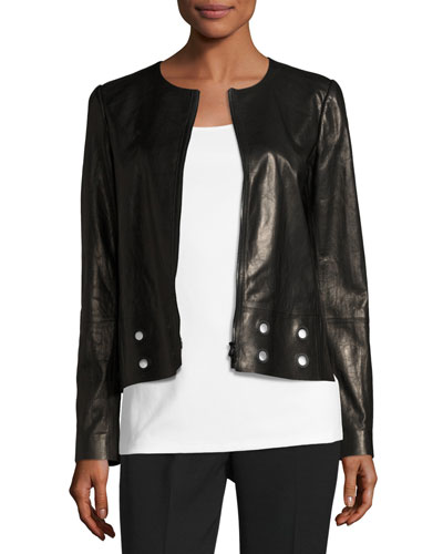 Glazed Lamb Leather Jacket w/ Grommet Detail, Black, Plus Size