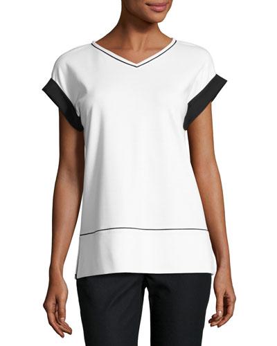 Short-Sleeve Contrast-Trim Punto Milano Top, White/Black, Plus Size