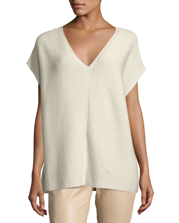 Short-Sleeve Sequin-Trim V-Neck Sweater, Plus Size