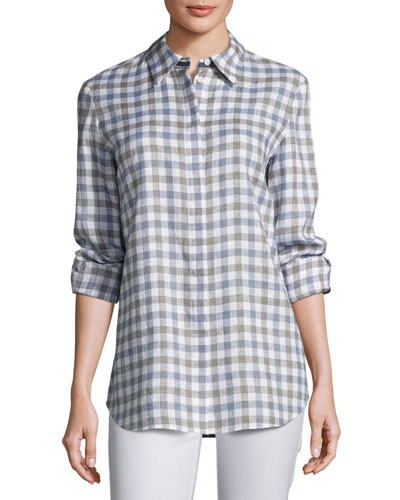 Brody Wanderlust Linen Check Button-Down Blouse, Plus Size