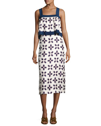 Avila Sleeveless Geometric-Print Popover Dress