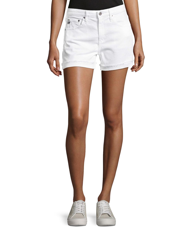 Hailey Mid-Rise Denim Jeans Shorts, White