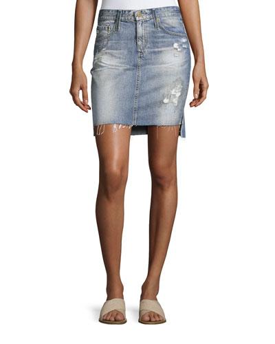 Erin Mid-Rise Denim Pencil Skirt, Indigo