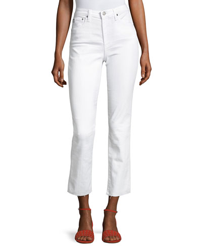 Isabelle High-Rise Straight-Leg Jeans, White