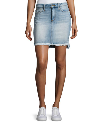 High-Low Hem Denim Jean Skirt, Indigo