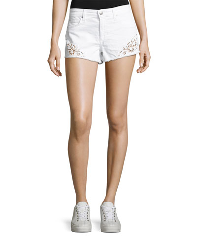 Cutoff Eyelet Denim Jean Shorts, White