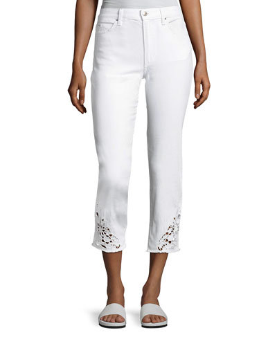 The Debbie Crop Jeans W/ Crocheted Hem, White