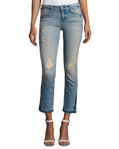 Cora Straight Crop Denim Jeans, Blue Dream Destroyed