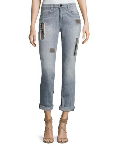 Charlotte Mid-Rise Boyfriend Jeans, Raven Gray