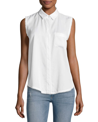 N7TH & Kent Sleeveless Button-Down Top, White