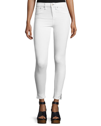 10 Inch Capri Jeans with Slit, White