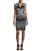 Sleeveless Embroidered Sheath Dress, Black