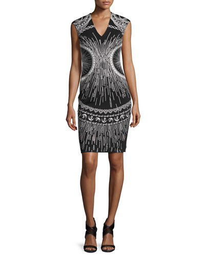 Sleeveless Embroidered Sheath Dress, Black