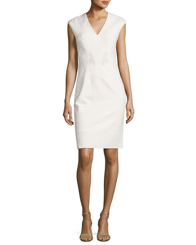 Sleeveless Embroidered Sheath Dress, Ivory