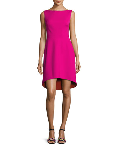 Sleeveless Colorblock Ponte Cocktail Dress, Fuchsia/Orange